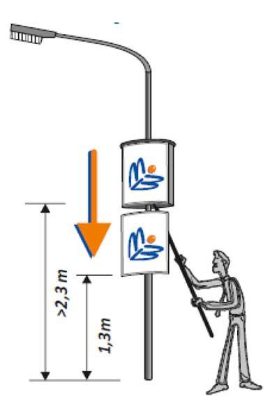 Schlittenverlängerung für Multiboard - Plakatdisplay A1 für Lichtmasten