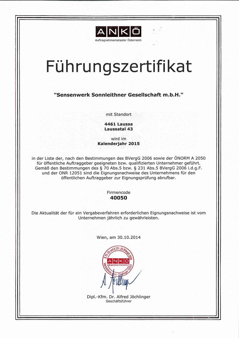 Eignungsnachweis 2015 ANKÖ_Sensenwerk Sonnleithner GesmbH
